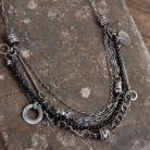 Naszyjniki naszyjnik ze srebra i czarnego spinelu