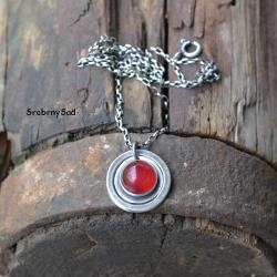 naszyjnik retro,czerwony naszyjnik,srebro - Naszyjniki - Biżuteria