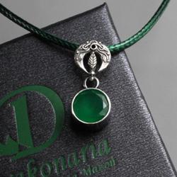 lunula,szmaragdowa zieleń,słowiański,listki - Wisiory - Biżuteria