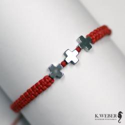 bransoletka,minimalistyczna,hematyt,czerwona - Bransoletki - Biżuteria