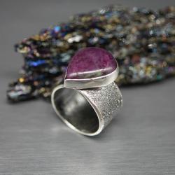 rubin,zoisyt,pierścionek,duży,surowy - Pierścionki - Biżuteria