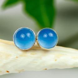 sztyfty,srebrne,wkrętki,niebieskie,agaty - Kolczyki - Biżuteria
