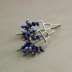 ag925,lapis lazuli,drobne,mobilne,zabawne,ruch - Kolczyki - Biżuteria