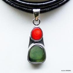 naszyjnik z koralem,jadeit,srebro,biżuteria, - Naszyjniki - Biżuteria