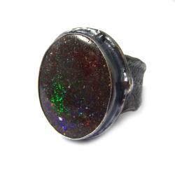 opal,srebrny,opalowy,tęczowy,unikat,srebro,kosmos - Pierścionki - Biżuteria