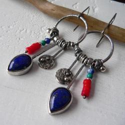długie kolczyki,koła,boho - Kolczyki - Biżuteria