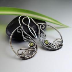 kolczyki,wire-wrapping,misterne,eleganckie,topaz - Kolczyki - Biżuteria
