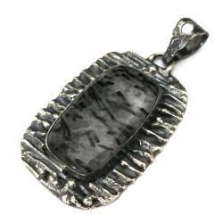 turmalin,czarny,blaks,srebrny,szary,retro,raw - Wisiory - Biżuteria