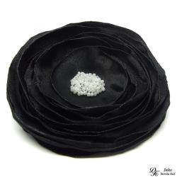broszka,kwiat,czarna,satyna,szyta,kwiatowa - Broszki - Biżuteria