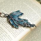 Naszyjniki naszyjnik z łańcuszkiem,wisior liść,niebieski liść