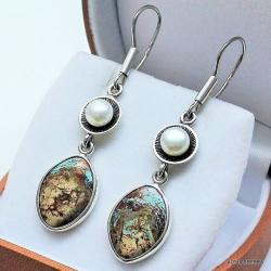 kolczyki z perłami,kolczyki,srebro,biżuteria - Kolczyki - Biżuteria