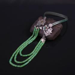 Srebrny etniczny zielony naszyjnik,etno,długi - Naszyjniki - Biżuteria