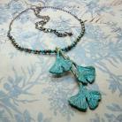 Naszyjniki liście miłorzębu,ginkgo,złoto-niebieski