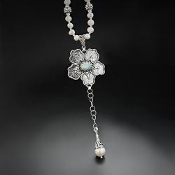 srebrny,naszyjnik,z opalem i perłami - Naszyjniki - Biżuteria