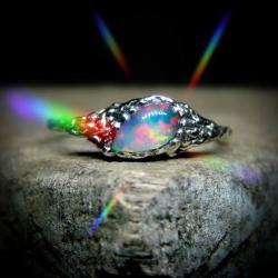 srebro,opal,pierścień,unikat - Pierścionki - Biżuteria