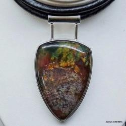 naszyjnik z agatem,wisior,srebro,biżuteria - Naszyjniki - Biżuteria