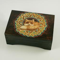 kot,lis,pudełka,szkatułki,pirografia - Pudełka - Wyposażenie wnętrz
