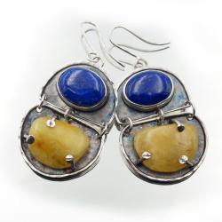 Srebrne kolczyki z bursztynem i lapisem - Kolczyki - Biżuteria