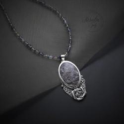naszyjnik,romantyczny,z kwitaem,srebrna róża - Naszyjniki - Biżuteria