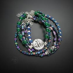 srebrna,bransoletka,z ćmą,zielona,zestaw - Bransoletki - Biżuteria