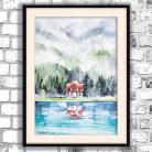 Obrazy akwarela,las,domek,romantyczny