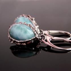 kolczyki,larimar,srebro - Kolczyki - Biżuteria