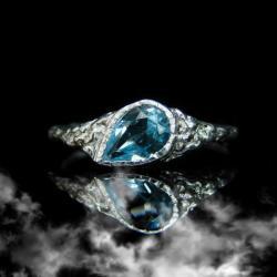 srebro,topaz,pierścionek,niebieski,unikat - Pierścionki - Biżuteria