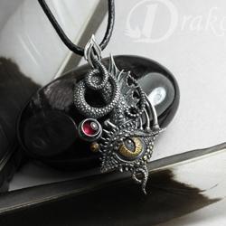 smocze oko,oko smoka,srebrne oko,fantasy,kły - Wisiory - Biżuteria