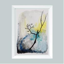 akwarela,drzewo,kot - Obrazy - Wyposażenie wnętrz