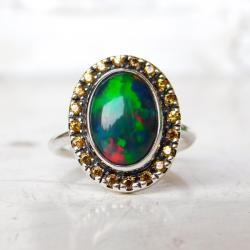 pierścionek srebrny czarnym opalem i szafirami, - Pierścionki - Biżuteria