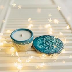 świeca sojowa,ceramika,jaśmin,podkładka - Świeczniki - Wyposażenie wnętrz