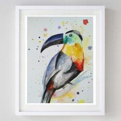 tukan,akwarela,kolorowy,papier,ptak - Obrazy - Wyposażenie wnętrz