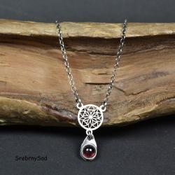 srebrny naszyjnik,naszyjnik z granatem - Naszyjniki - Biżuteria