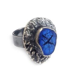 azuryt,kobalt,srebrny,szarości,unikat,druza - Pierścionki - Biżuteria