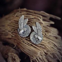 kolczyki sztyfty sowa,srebrne kolczyki z sową - Kolczyki - Biżuteria