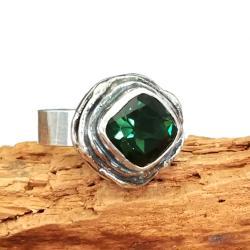 turmalin,blask,ołowiany,srebrny,srebro,zielony - Pierścionki - Biżuteria