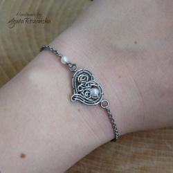 bransoletka,serce,stal chirurgiczna,perły - Bransoletki - Biżuteria