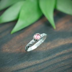 róże,turmalin,retro,romantyczny, - Pierścionki - Biżuteria