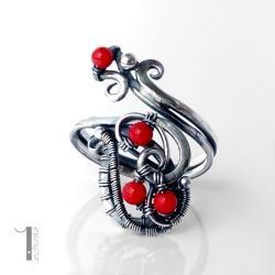 pierścionek srebrny,wire wrapping,koral,925 - Pierścionki - Biżuteria