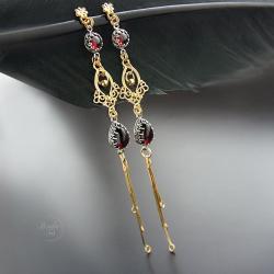 długie,wiszące,kolczyki,srebrne,z granatem - Kolczyki - Biżuteria