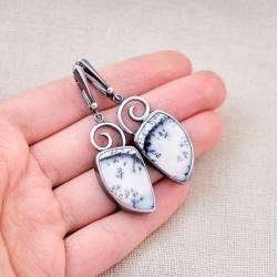 kolczyki,srebrne,opal dendrytowy,zima,prezent - Kolczyki - Biżuteria