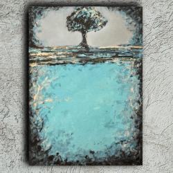 drzewo,tree,blue,prezent,abstrakcja,nowoczesn - Obrazy - Wyposażenie wnętrz