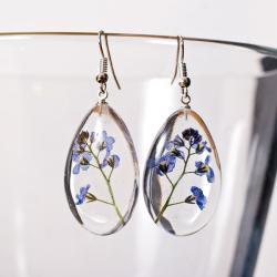 kolczyki z kwiatami w żywicy i srebrze - Kolczyki - Biżuteria