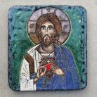Ceramika i szkło Beata Kmieć,ikona ceramiczna,Jezus,serce