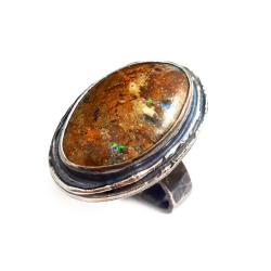 opal,boulder,srebrny,okazały,duży,pastelowy,retro - Pierścionki - Biżuteria