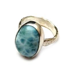 larimar,sebrny,blask,błękit,retro,oksyda,srebro, - Pierścionki - Biżuteria