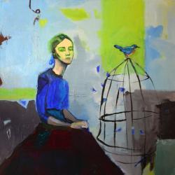 kobieta,ptak,klatka,abstrakcja,nowoczesny - Obrazy - Wyposażenie wnętrz