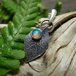 srebrny,liść opal,natura,delikatny - Naszyjniki - Biżuteria