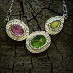 srebro,turmalin,naszyjnik,różowy,zielony - Naszyjniki - Biżuteria