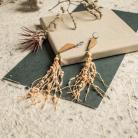 Kolczyki kolczyki z lnem,drewniane kolczyki,kolczyki